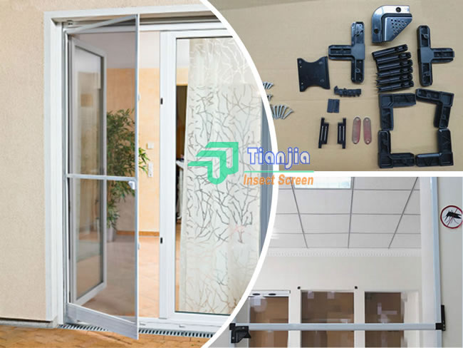 Aluminum Framed Retractable Pet Screen Door Curtains